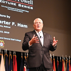 Former AFRICOM commander delivers 2019 Colin Powell lecture