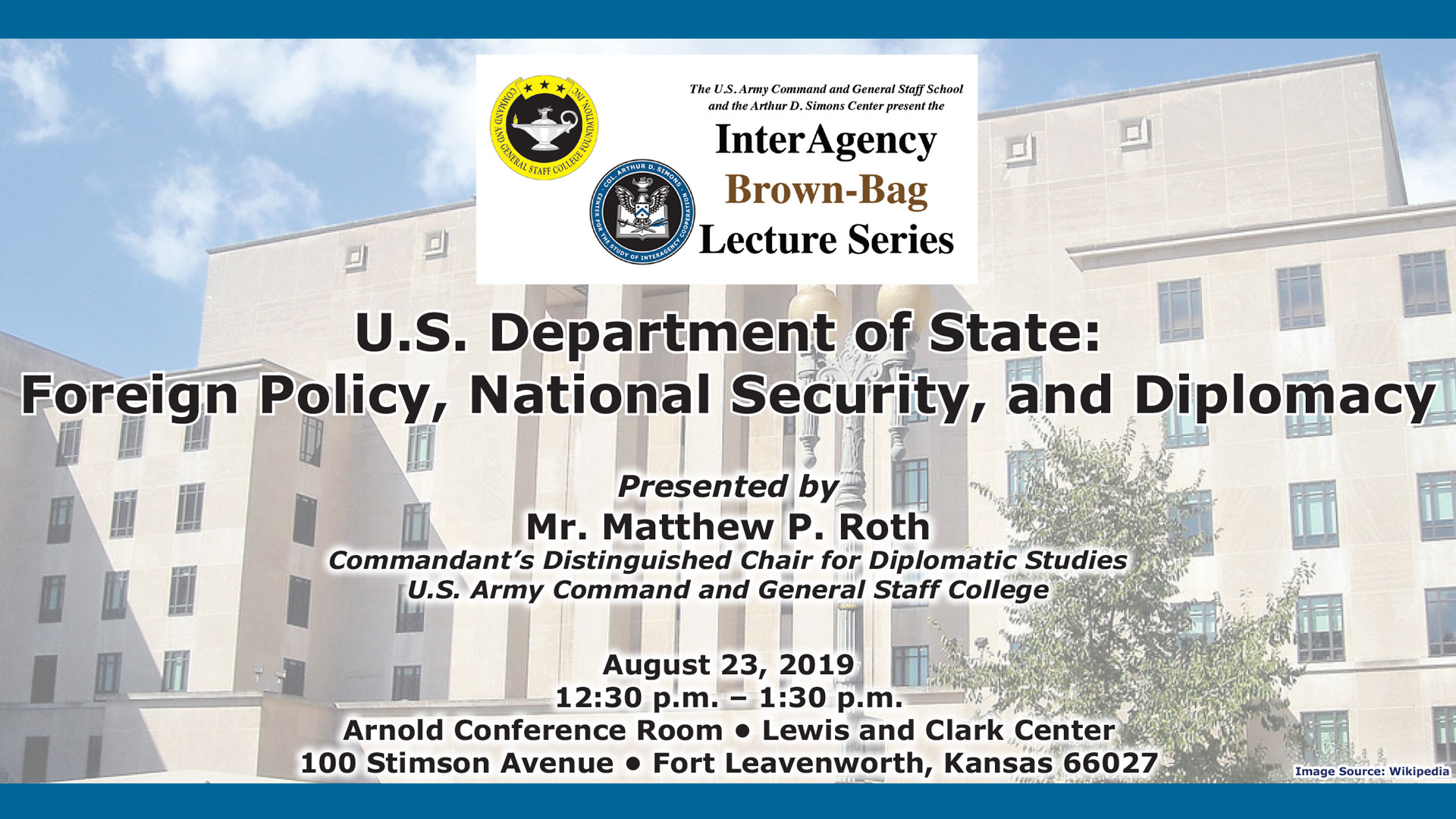 IABBLS AY20-1 info image- photo of State Department with lecture details