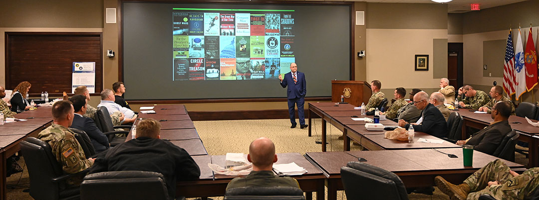 Mr. Kevin Rousseau, the CGSC Distinguished Chair for National Intelligence Studies and a member of the Central Intelligence Agency (CIA), leads a discussion about the CIA's organization and mission during the InterAgency Brown-Bag Lecture conducted Oct. 10, 2019, in the Lewis and Clark Center's Arnold Conference Room.