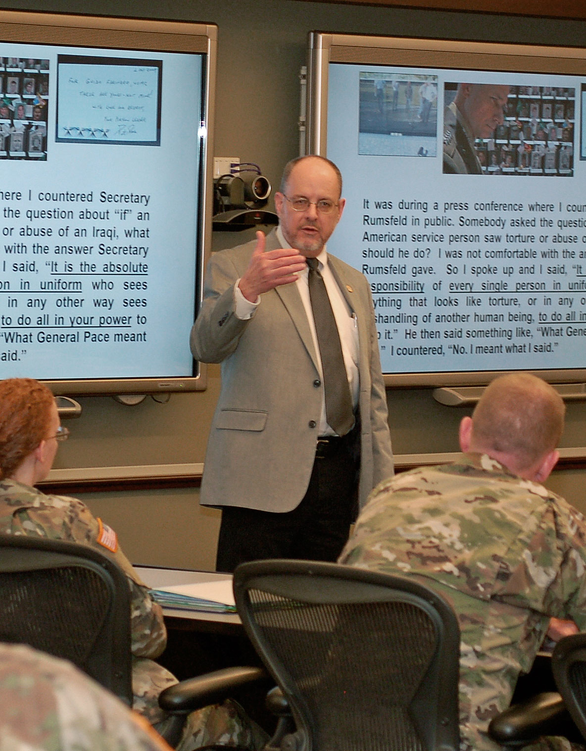 "Dr. Jack Kem presents his paper ""Individual and National Responsibility To Protect"" during the 2017 Fort Leavenworth Ethics Symposium on April 24, 2017. (photo by Mark H. Wiggins)"