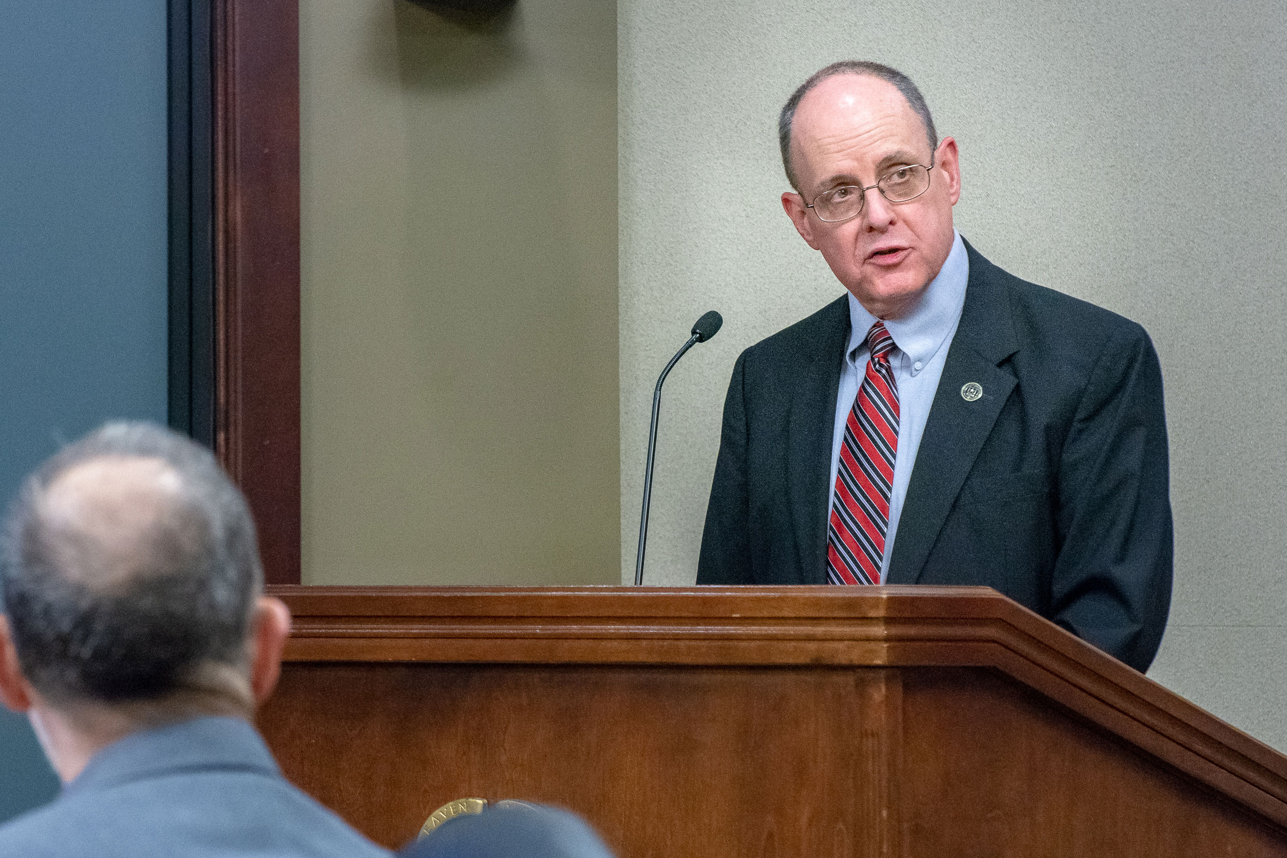 "Dr. Jack Kem, CGSC Associate Dean of Academics, provides opening remarks for a panel discussion event entitled ""Leveraging Culture and language in 'Influence' Operations"" on May 21, 2019 at the Lewis and Clark Center. (photo courtesy ArmyU Public Affairs)"