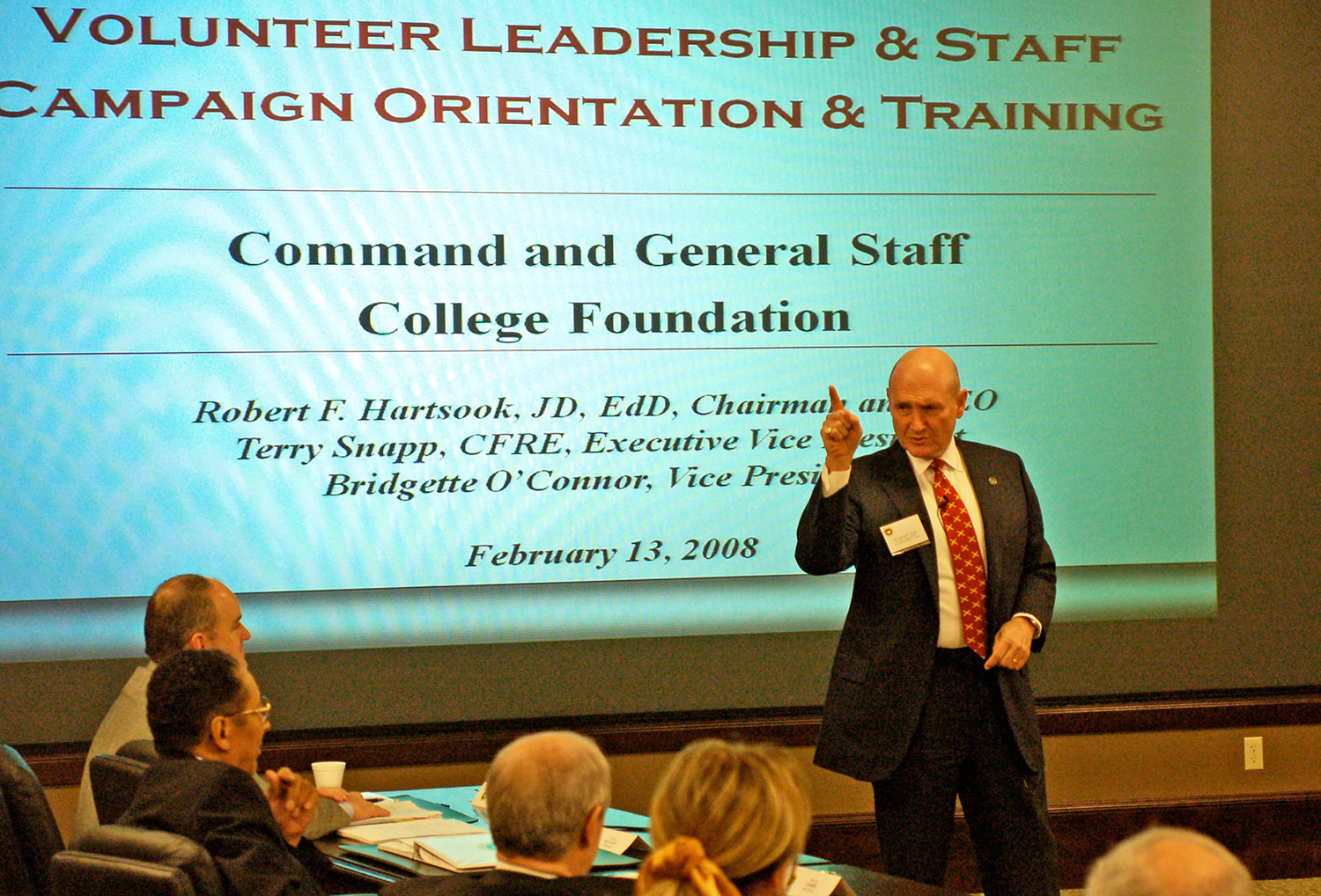 Hyrum Smith delivers motivational remarks to members of the CGSC Foundation board of trustees at a special meeting conducted Feb. 13, 2008, in the Arnold Conference Room of the Lewis and Clark Center on Fort Leavenworth. (photo by Mark H. Wiggins)