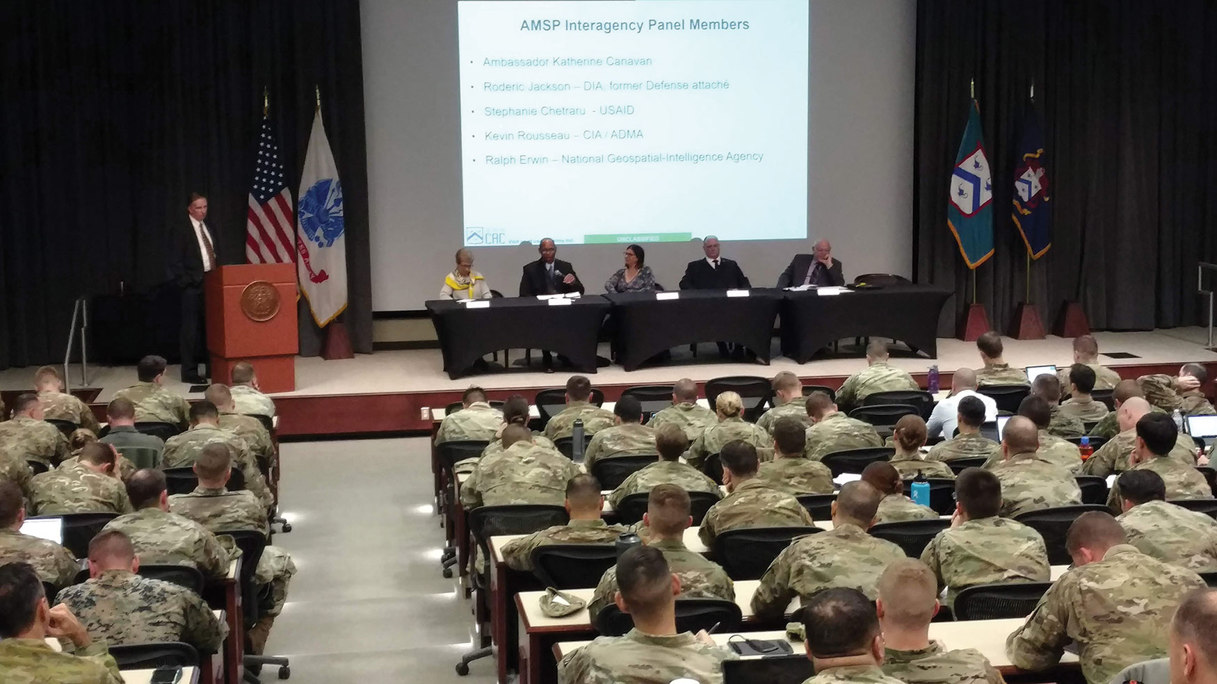 Ambassador Canavan participates in a School for Advanced Military Studies (SAMS) Interagency Panel, discussing interagency operations along with representatives from the CIA, Defense Intelligence Agency (DIA), U.S. Agency for International Development (USAID) and the National Geospatial-Intelligence Agency (NGA).