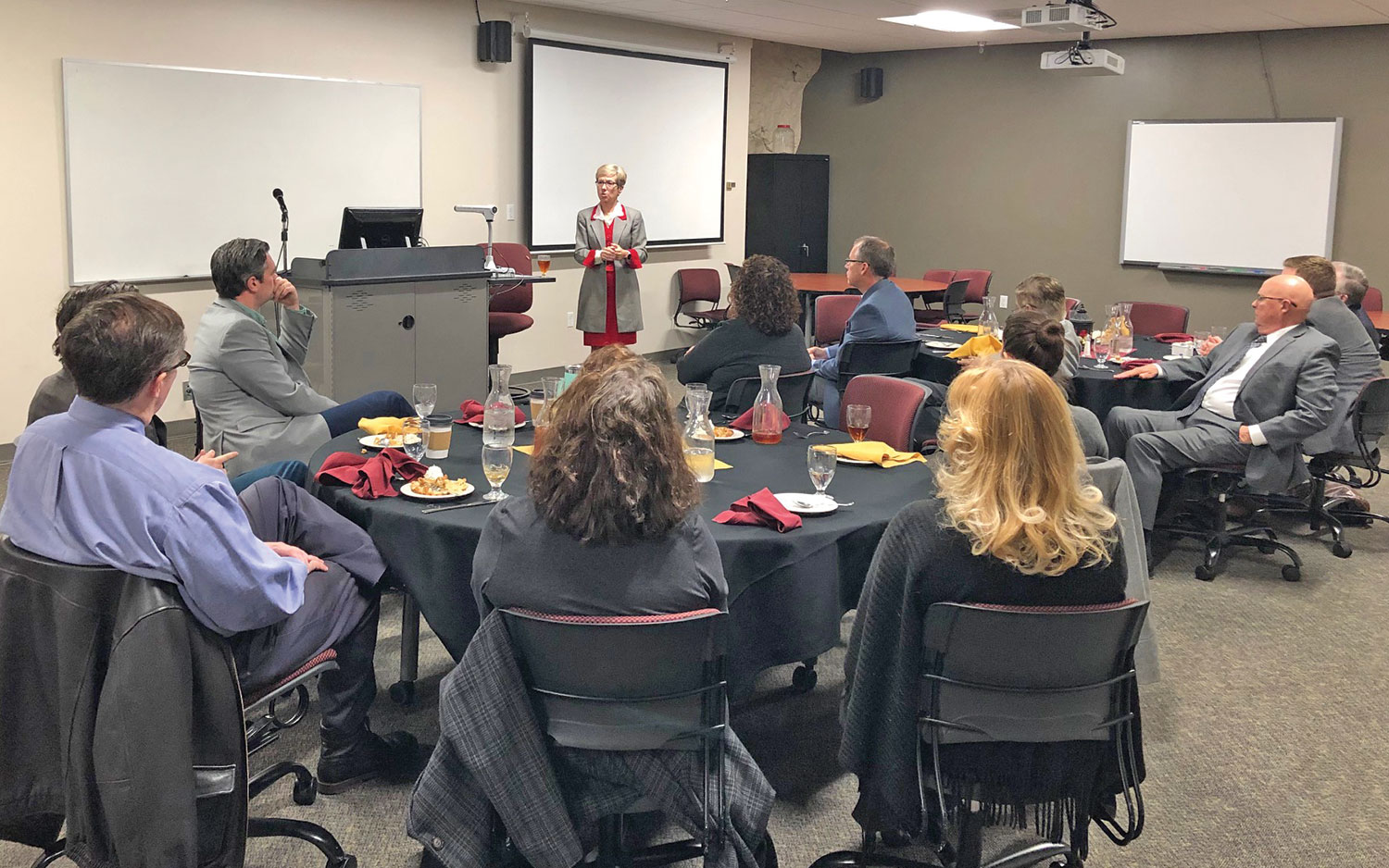 Ambassador Canavan provides a presentation to Park University faculty and staff during a luncheon on the campus Dec. 4, 2019.