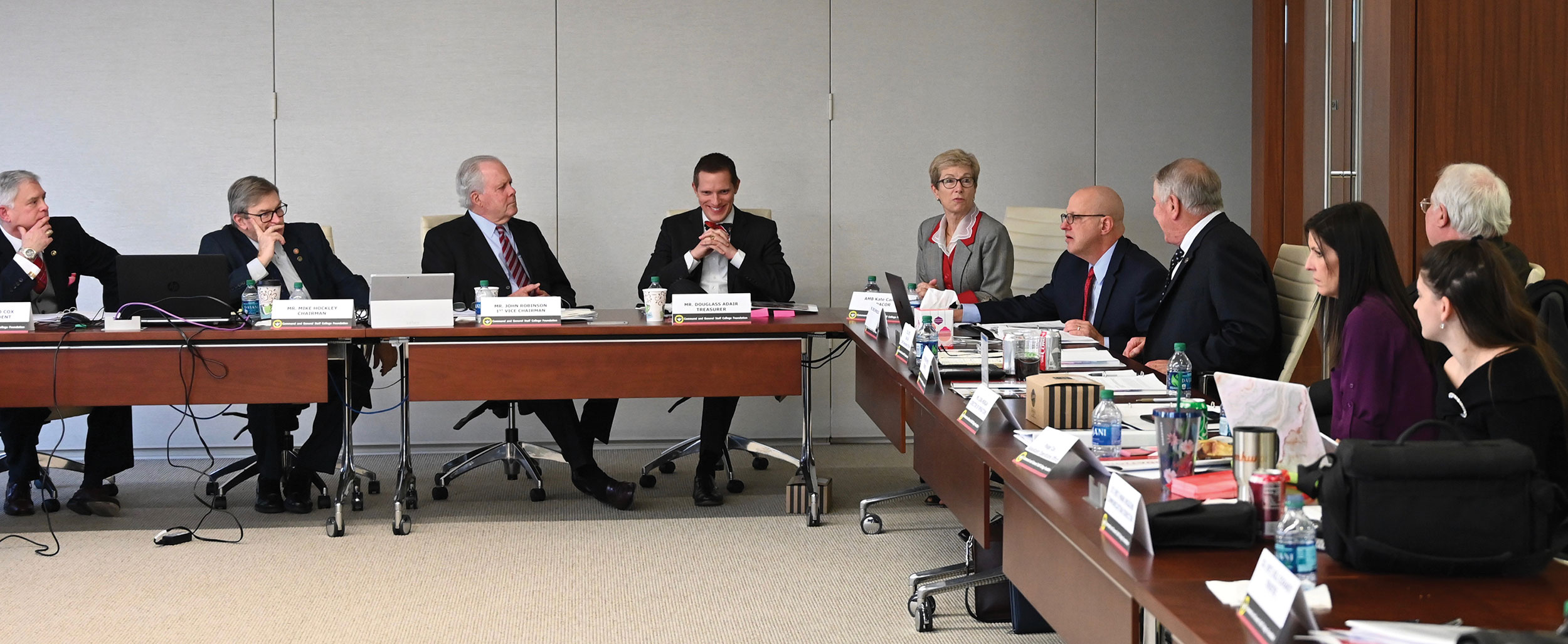 Ambassador Canavan visits with the members of the CGSC Foundation board of trustees during their quarterly meeting Dec. 4, 2019.