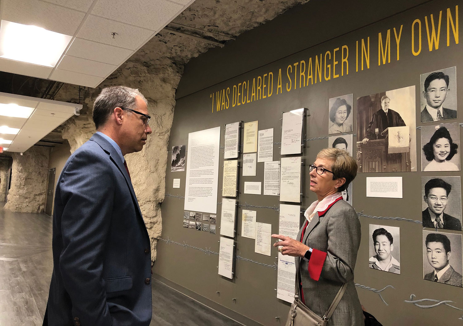 Park University's Associate Vice President for University Engagement Eric Bergrud provides Ambassador Canavan with a university tour during her visit Dec. 4, 2019.