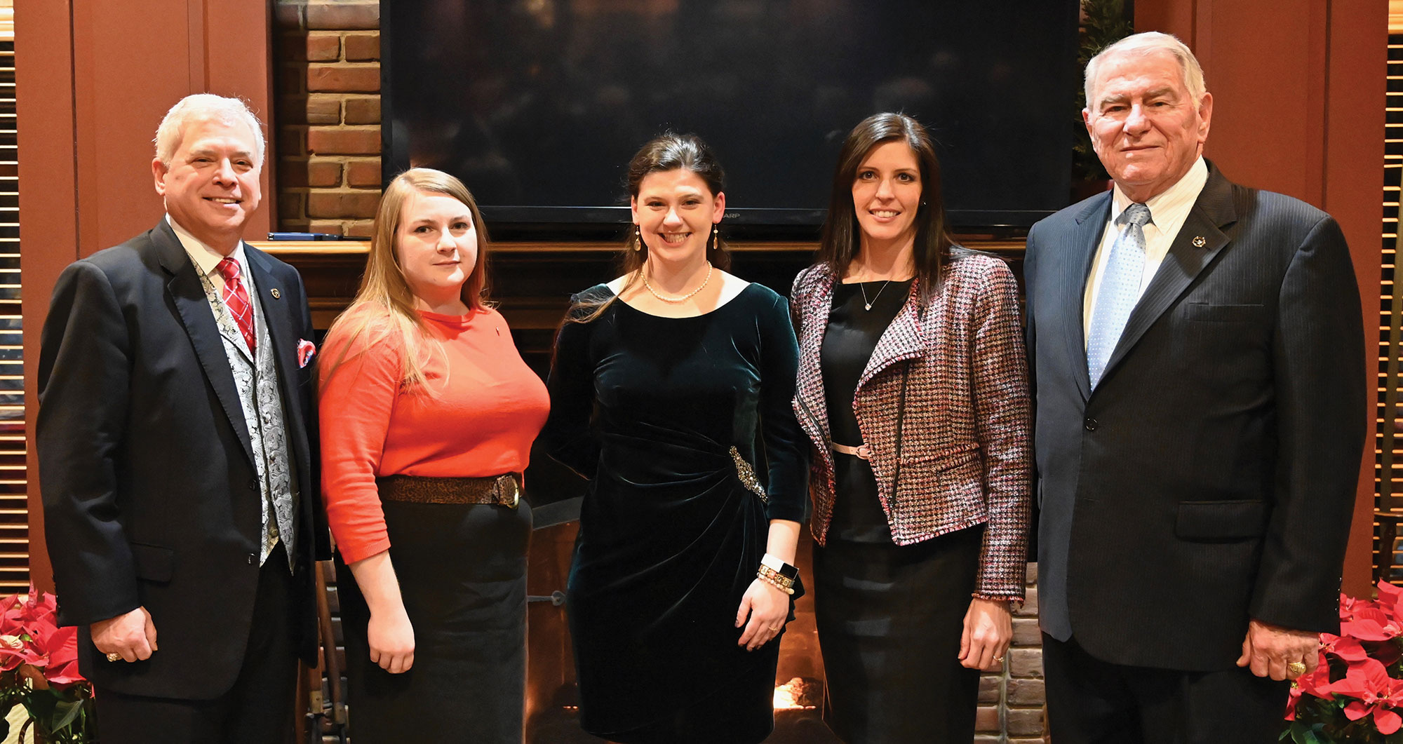 Happy Holidays from the CGSC Foundation staff (L-R): President/CEO Col.(Ret.) Rod Cox; Simons Center Editor/Program Assistant Elizabeth Ditsch; Assistant Operations Officer Paige Cox; Director of Operations Lora Morgan; Chief Development Officer Col. (Ret.) Bob Ulin.