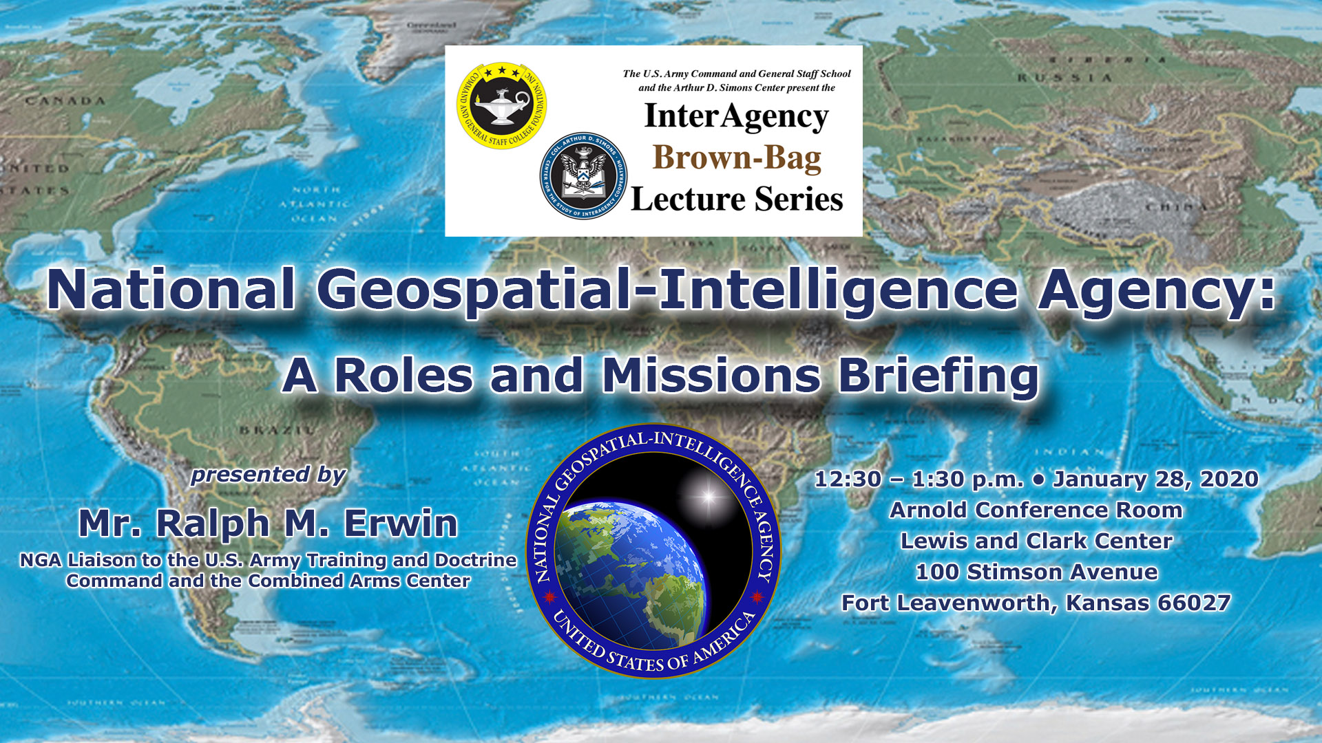 composite image with global map background with NGA seal and the date/time of the next interagency brown-bag lunch on Jan. 28, 2020