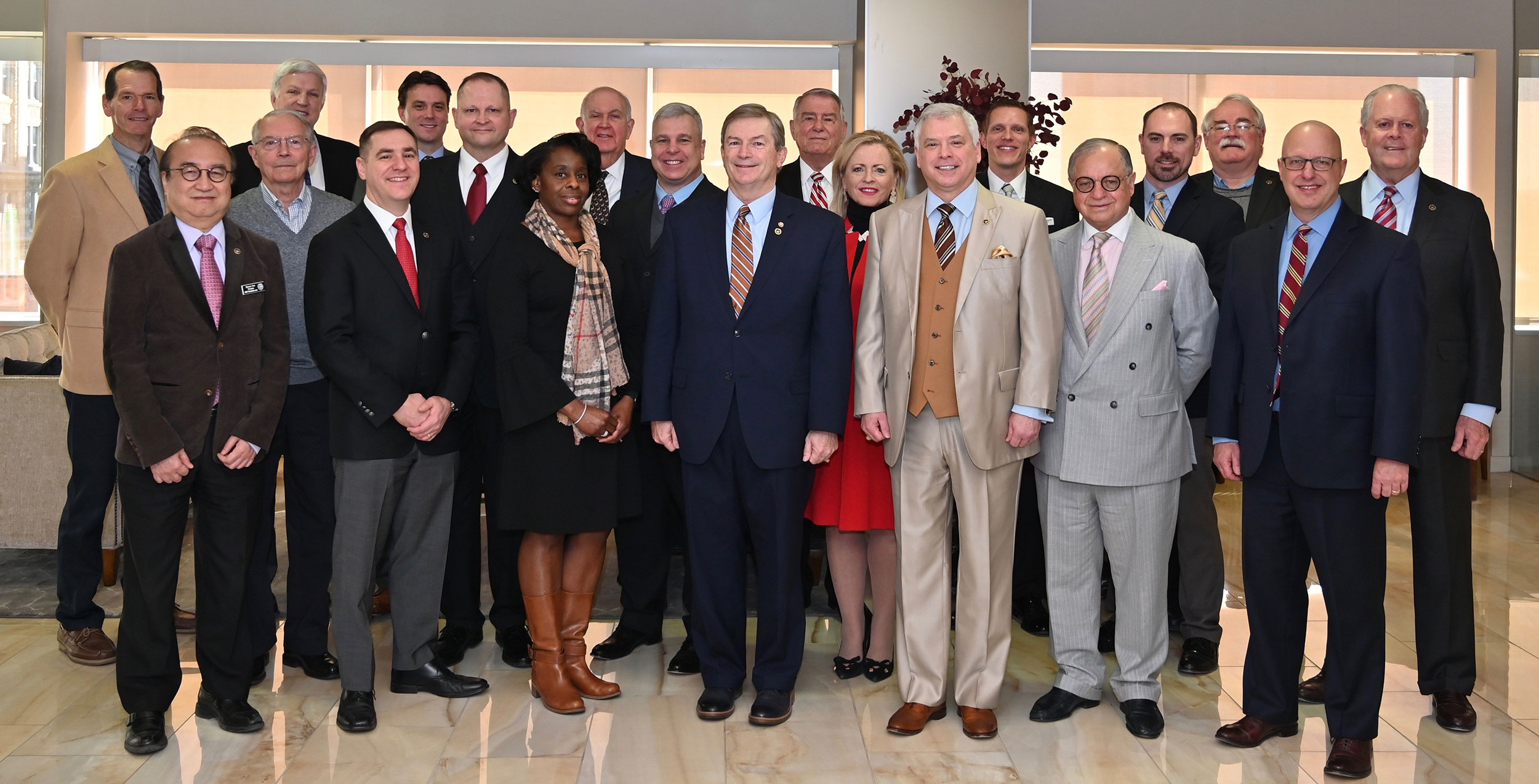 Benny Lee (left, front row) with his fellow CGSC Foundation trustees at the Feb. 21, 2020 Foundation board of trustees meeting in Kansas City.