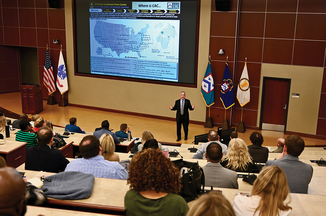 Michael D. Formica, deputy to the commanding general of the Combined Arms Center and Fort Leavenworth, provides a welcome and information briefing for the KC Centurions on March 10, 2020, in Marshall Auditorium of the Lewis and Clark Center.