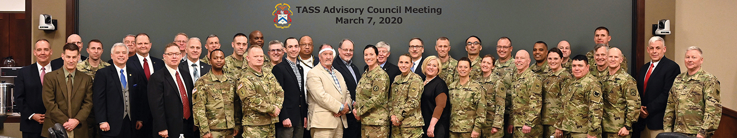 Group photos of the attendees at the March 7, 2020, TACM in the Arnold Conference Room of the Lewis and Clark Center on Fort Leavenworth.