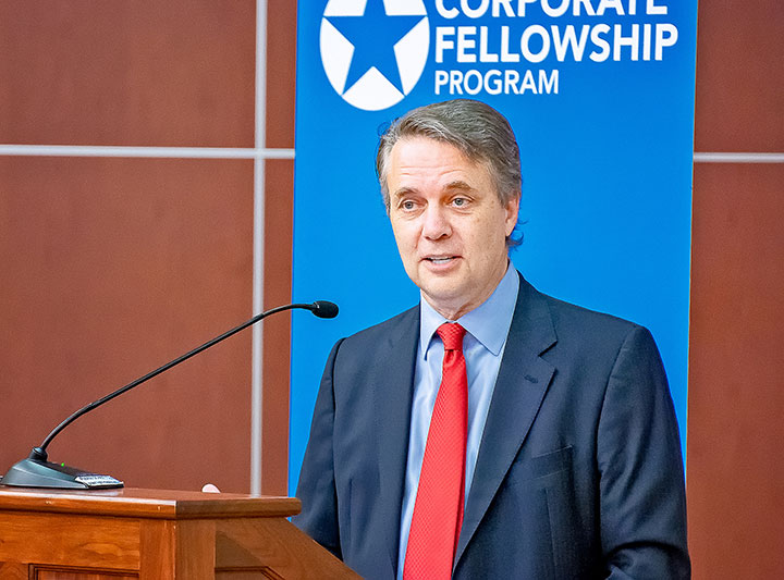 "Gov. Jeff Colyer delivers remarks at the graduation ceremony for ""Hiring our Heroes Corporate Fellowship Program"" at Fort Leavenworth on July 26, 2018. (Photo by Dan Neal/ArmyU Public Affairs)"