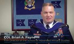 Col. Brian A. Payne, the 17th director of SAMS, provides welcome remarks during the SAMS virtual graduation ceremony May 21, 2020.