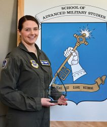 Lt. Col. Angela Polsinelli, U.S. Air Force, recipient of the best monograph award for the SAMS Advanced Strategic Leader Studies Program Class of 2020.