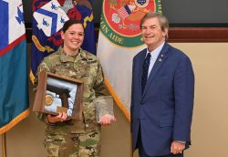 CGSC Foundation Chairman Mike Hockley with Maj. Maj. Sarah M. Gerstein, winner of the CGSOC Class of 2020 Marshall Award for the top graduate in the class.