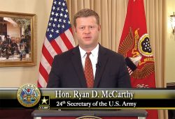 Secretary of the Army Ryan McCarthy delivers remarks during the virtual graduation ceremony on June 12, 2020, for the CGSOC Class of 2020.