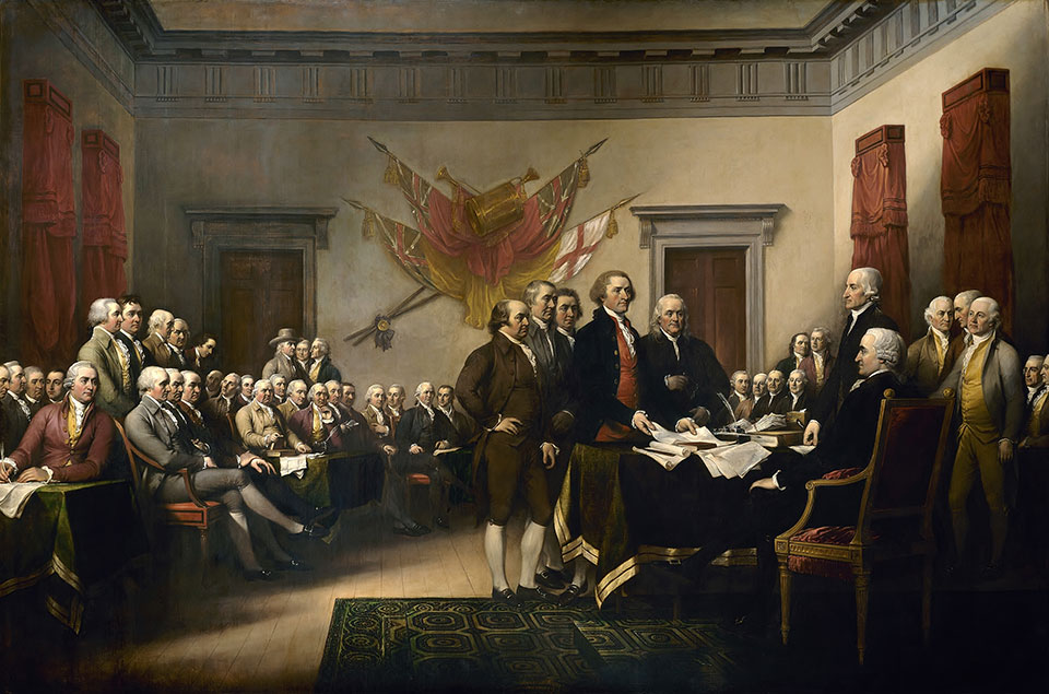 Declaration of Independence, painting created by artist John Trumbull in 1818, depicts the moment on June 28, 1776, when the first draft of the Declaration of Independence was presented to the Second Continental Congress. The document stated the principles for which the Revolutionary War was being fought, which remain fundamental to the nation. The Declaration was officially adopted, July 4, 1776 and later signed on Aug. 2, 1776. (Courtesy of Architect of the Capitol)