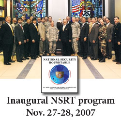 Participants and facilitators for the CGSC's first National Security Series Roundtable gather for a group photo in the artrium of the Lewis and Clark Center, Nov. 28, 2007. (Photo by Don Middleton, Fort Leavenworth)