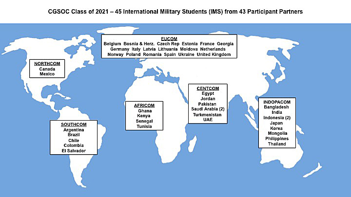 world map with text showing the 43 countries which have students in the CGSOC Class of 2021