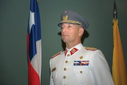 Lt. Col. Gonzalo Lopez, Chile, participates in the International Military Student Flag Ceremony on Sept. 8 marking the beginning of the academic year for the Command and General Staff College.