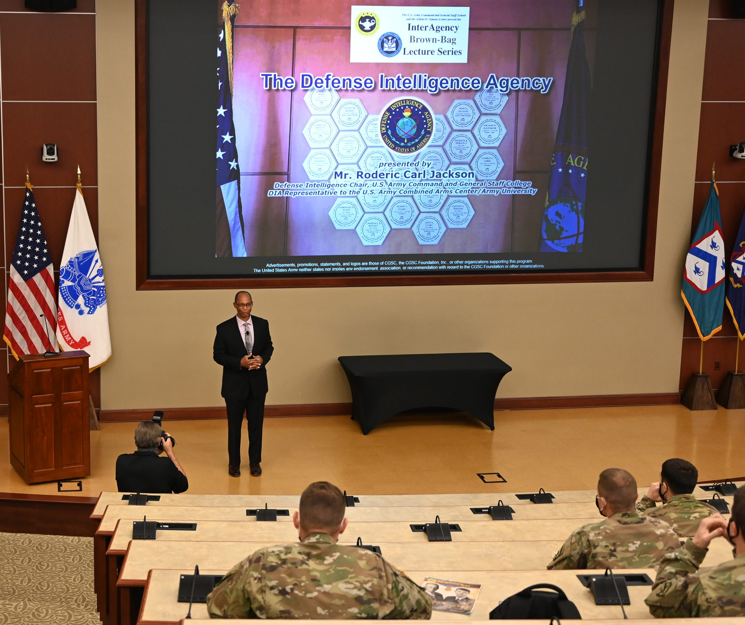 Mr. Roderic C. Jackson, the Defense Intelligence Chair and Defense Intelligence Agency (DIA) Representative to the Combined Arms Center and Army University, leads the discussion in the first lecture of the InterAgency Brown-Bag Lecture Series for CGSC academic year 2021.