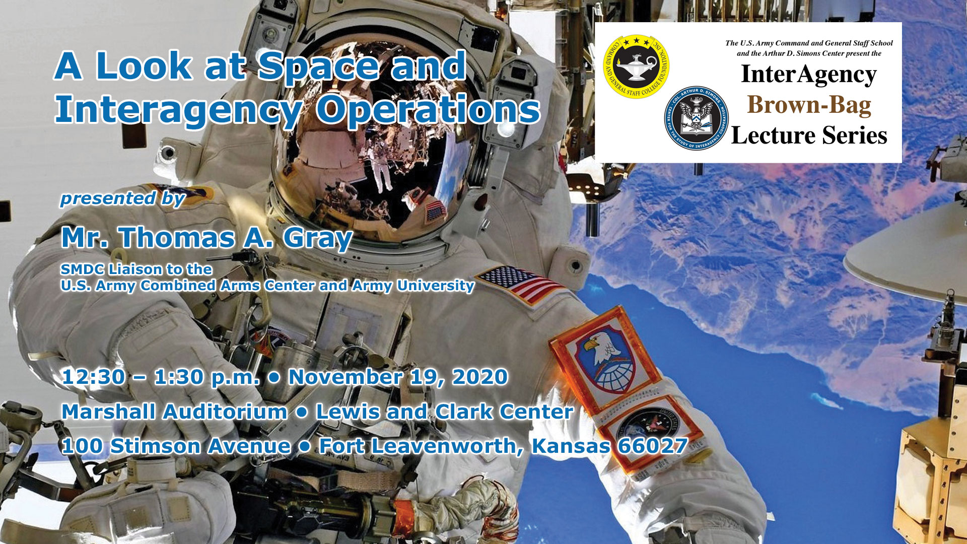 brown-bag lecture image with astronaut photo in the background and lecture date, time, location