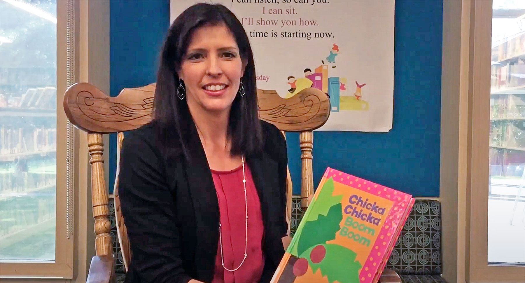 CGSC Foundation Director of Operations Lora Morgan reads Chicka Chicka Boom Boom as part of the Combined Arms Research Library's Community Reads program.