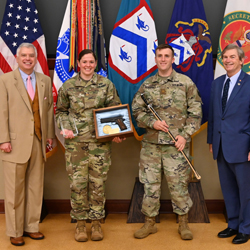 For Soldiers - image of two CGSC students with the Foundation Chairman and Foundation President/CEO