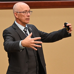 Thomas A. Gray, the U.S. Army Space and Missile Defense Command Liaison to the Combined Arms Center and Army University, leads the discussion in the second lecture of the InterAgency Brown-Bag Lecture Series for CGSC academic year 2021.