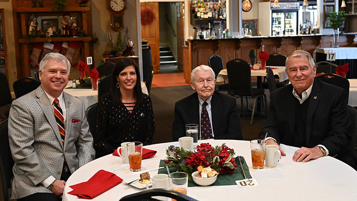 From left, CGSC Foundation President/CEO Rod Cox, Director of Operations Lora Morgan, CGSC Foundation Founding Chairman Lt. Gen. (Ret.) Robert Arter, and the Director of Development/Founding CEO Bob Ulin during the luncheon Dec. 11.