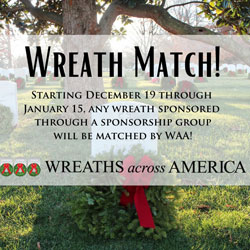 Sponsor a wreath for 2021 and WAA will match it