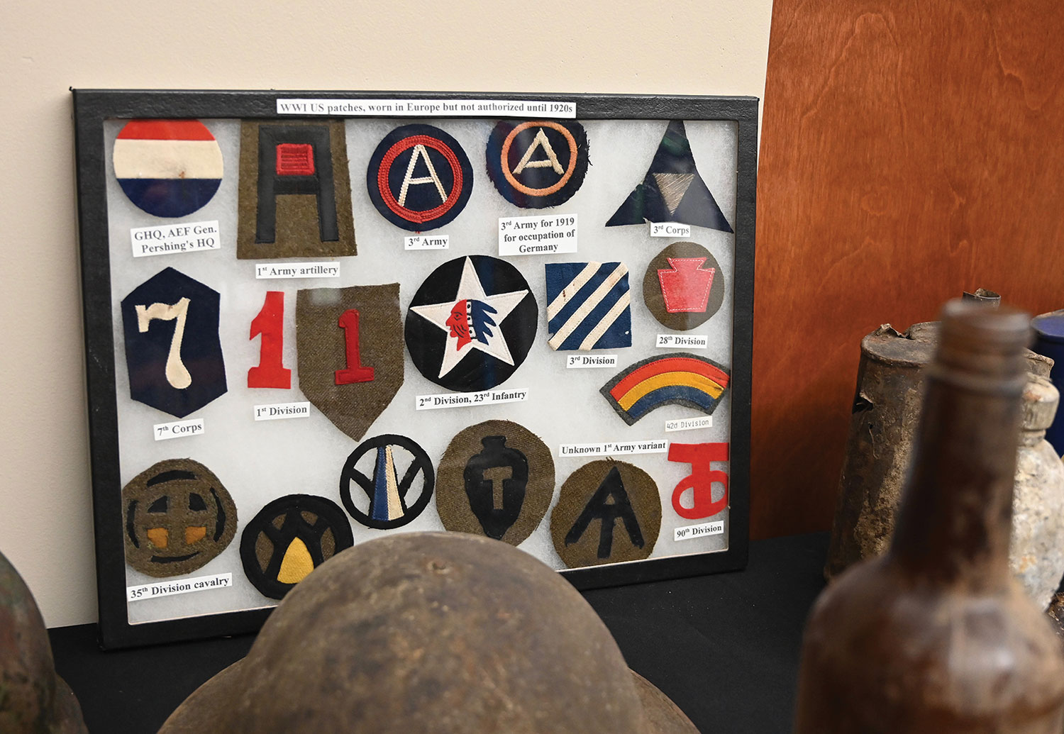 photo of WWI uniform patch collection in the CGSC Foundation gift shop