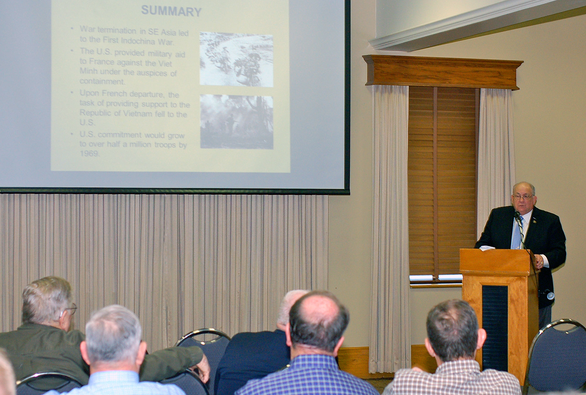 Dr. Jim Willbanks presents at the first lecture of the Vietnam War Commemoration Lecture Series on March 23, 2016, at the Riverfront Community Center in downtown Leavenworth, Kansas. The series was presented by CGSC's Dept. of Military History, and the U.S. Army Garrison Fort Leavenworth, and supported by the CGSC Foundation and the Henry Leavenworth Chapter of AUSA.