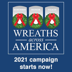 "Wreaths Across America logo with ""2021 campaign starts now!"" text"