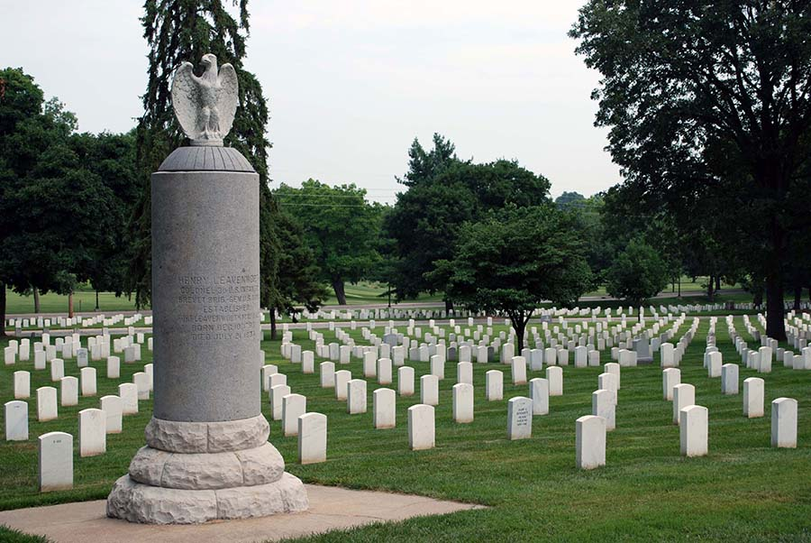 Fort Leavenworth National Cemetery with the Col. Henry Leavenworth monument in the foreground.
