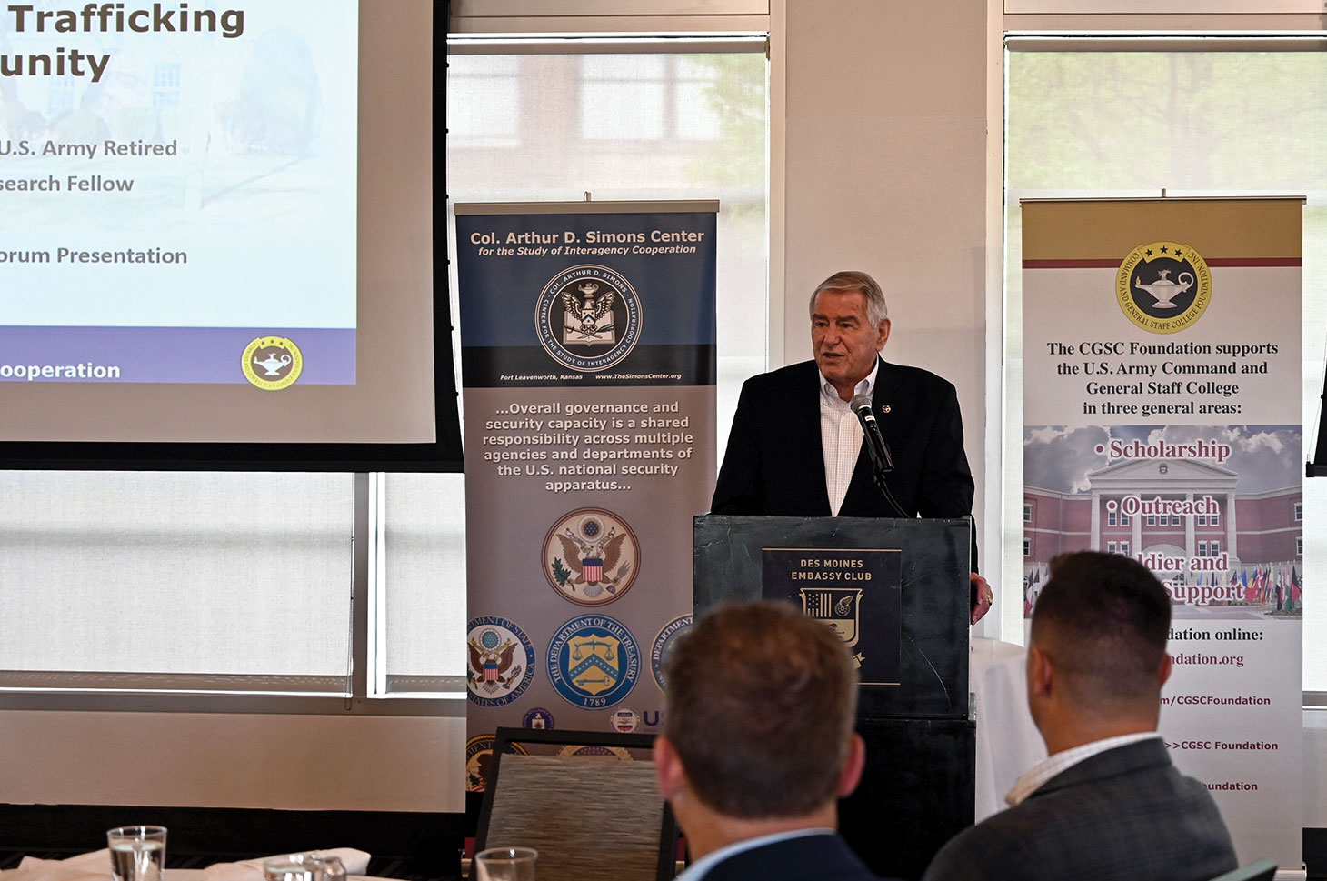 Simons Center Founder and current Director Col. (Ret.) Bob Ulin provides background information about the CGSC Foundation and the Simons Center during the Simons Center National Security Forum at the Des Moines Embassy Club West on May 20, 2021.