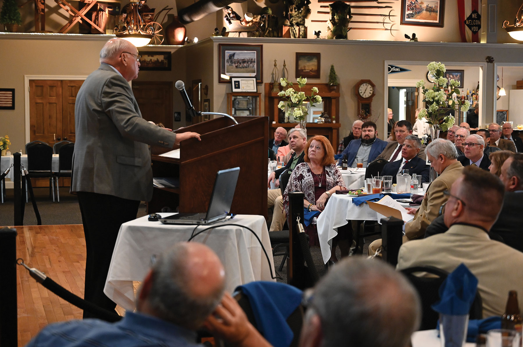 CGSC Professor Emeritus Dr. James H. Willbanks presents the 13th lecture in the CGSC Foundation's Vietnam War Commemoration Lecture Series on May 13, 2021, at June's Northland in downtown Leavenworth, Kansas.