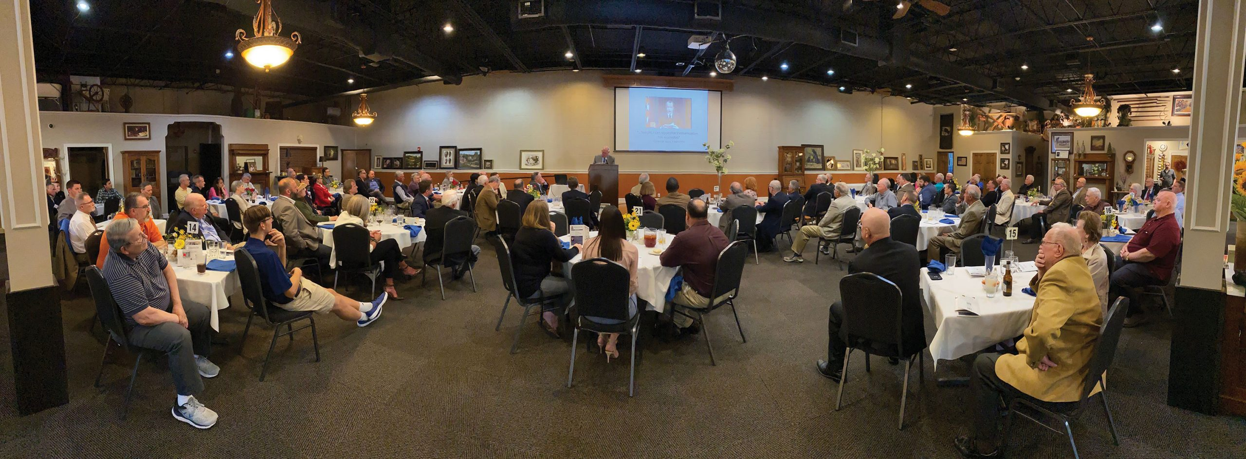 Guests and sponsors filled June's Northland in downtown Fort Leaveworth to listen to CGSC Professor Emeritus Dr. James H. Willbanks present the 13th lecture in the CGSC Foundation's Vietnam War Commemoration Lecture Series on May 13, 2021.