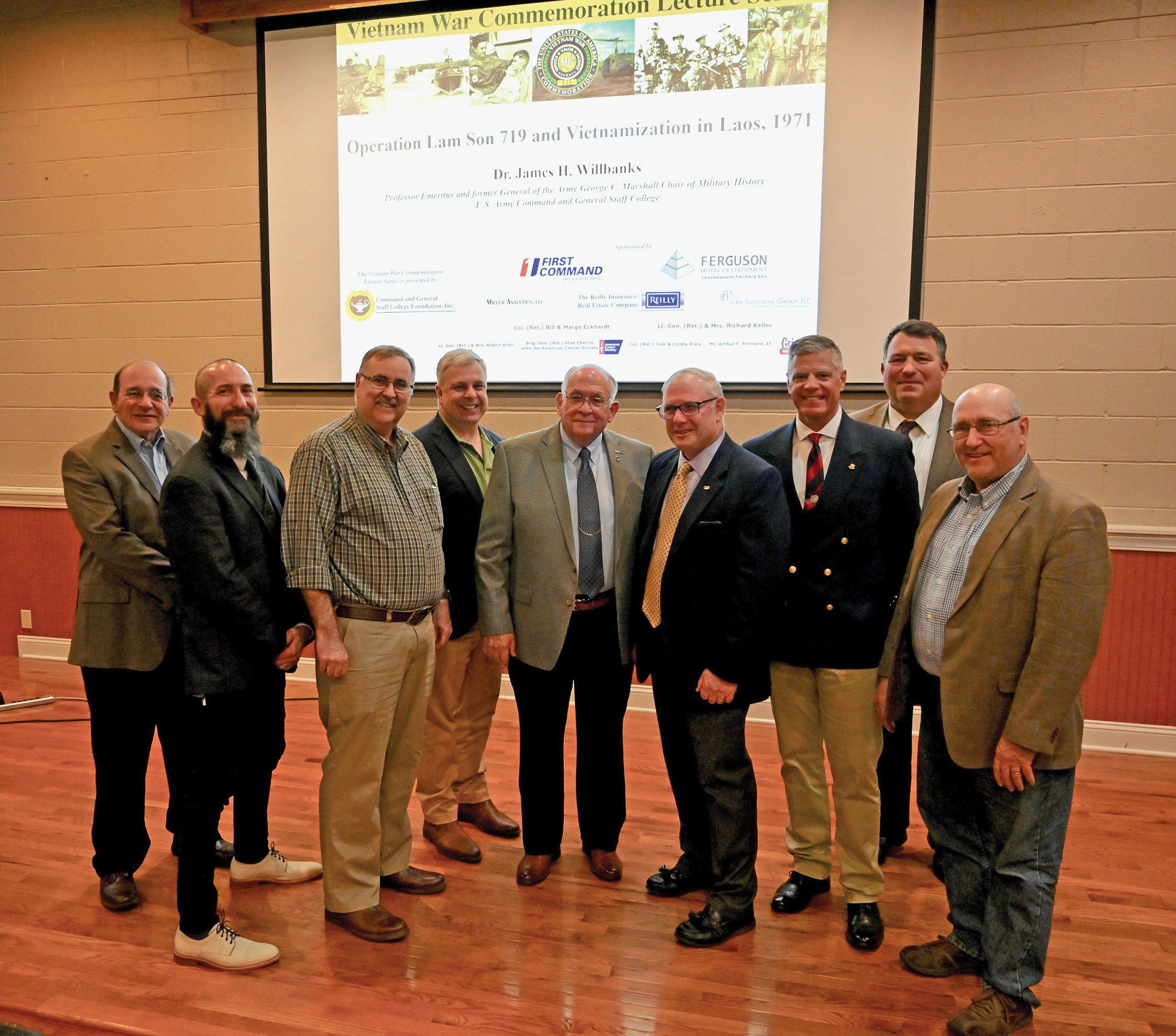 CGSC Professor Emeritus Dr. James H. Willbanks reunites with some of his CGSC faculty colleagues during the CGSC Foundation's Vietnam War Commemoration Lecture Series on May 13, 2021, at June's Northland in downtown Leavenworth, Kansas.