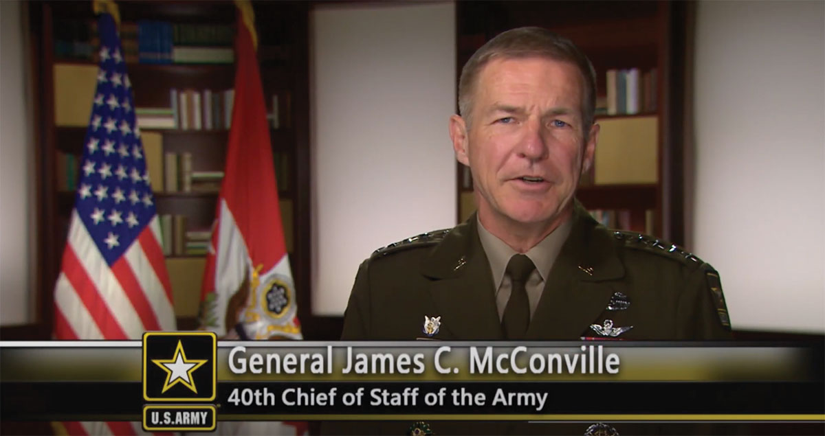 Chief of Staff of the Army Gen. James McConville addresses the graduates of the resident course of the CGSOC Class of 2021 during the virtual ceremony on June 18, 2021.