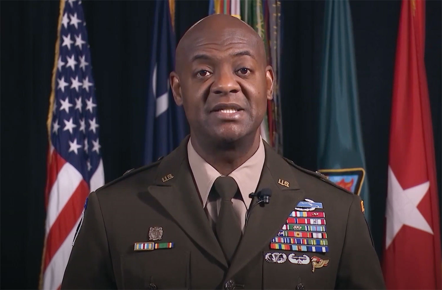 Brig. Gen. Milford Beagle Jr., commanding general of U.S. Army Training Center and Fort Jackson, S.C. and a 2003 graduate of SAMS, delivers remarks during the 2021 SAMS virtual graduation ceremony on May 27.