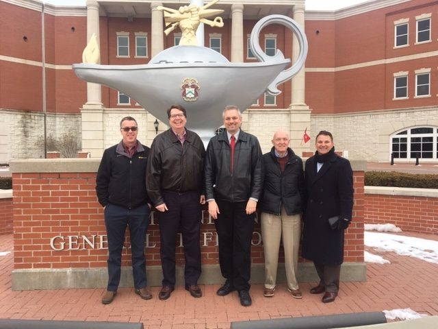 Tim Carlin, right, brought a group of his executive colleagues to visit Fort Leavenworth, the Command and General Staff College and the CGSC Foundation on March 7, 2019, to inform and educate them about the post's rich history and the mission of CGSC and the CGSC Foundation to educate the nation's future leaders.
