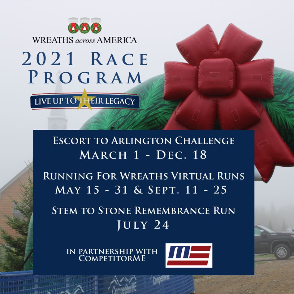 Wreaths Across America 2021 Race Program image with running race schedule text
