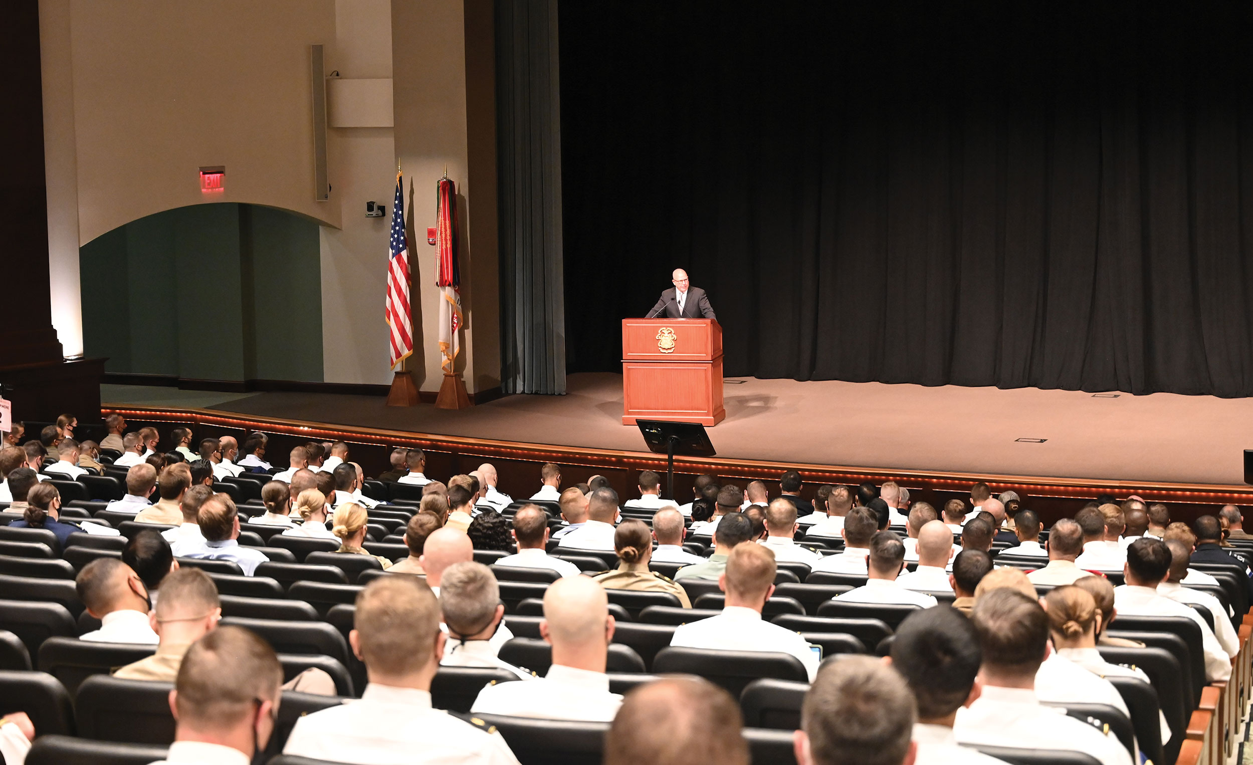 Lt. Gen. (Ret.) H.R. McMaster, the 26th assistant to the President for National Security Affairs, delivers his remarks during the annual Colin L. Powell Lecture for students of the Command and General Staff Officers Course Class of 2022 in Eisenhower Hall in Fort Leavenworth's Lewis and Clark Center Sept. 8, 2021.