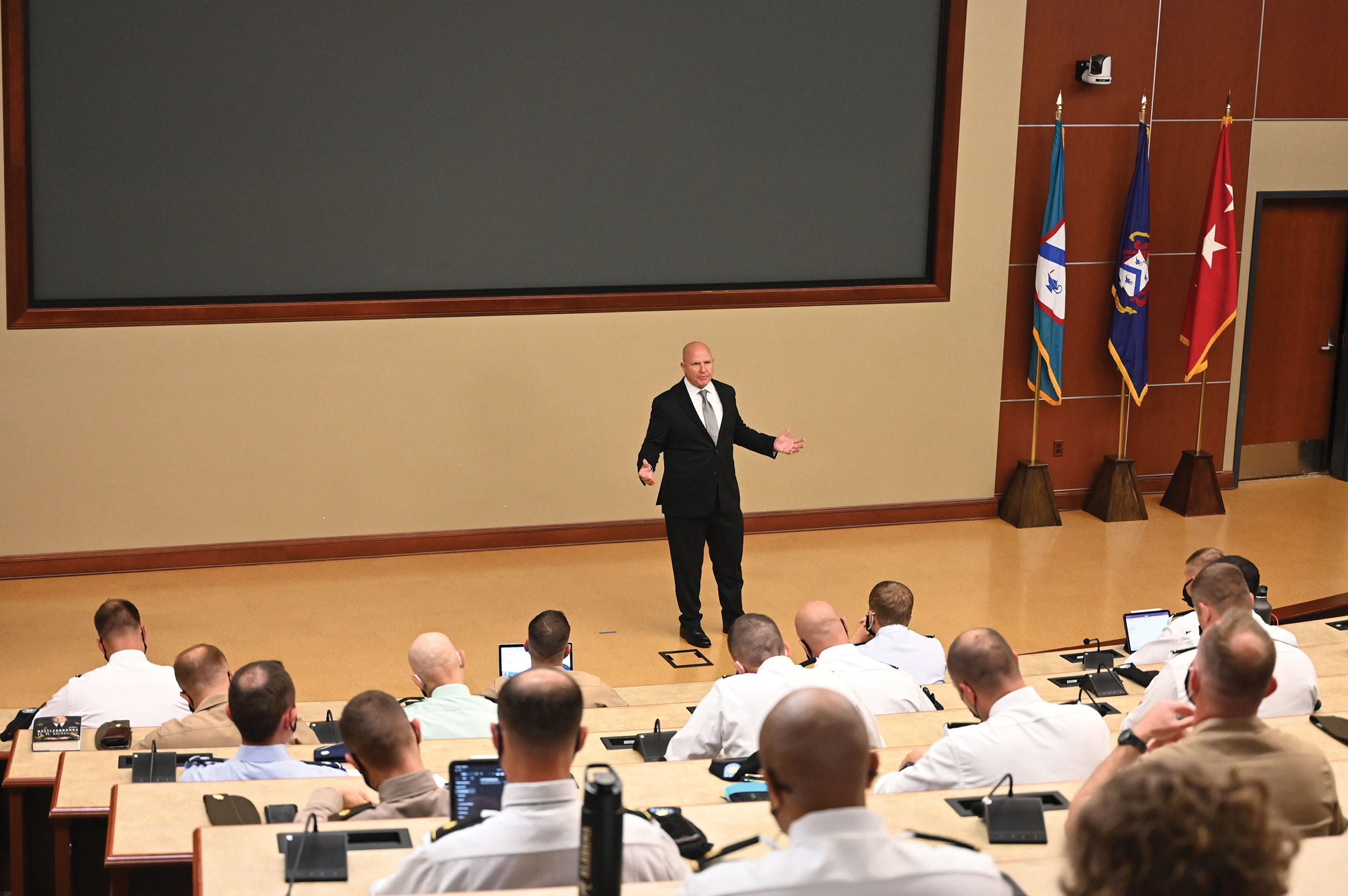 In his last stop during his visit to CGSC as the AY 22 Colin L. Powell Lecture Series lecturer, Lt. Gen. (Ret.) H.R. McMaster speaks with students in the SAMS Class of 2022 in Marshall Auditorium of the Lewis and Clark Center on Sept. 8, 2021.