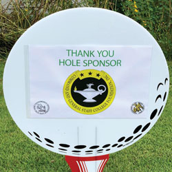 photo of CGSC Foundation's hole sponsor sign from the Aug. 20, 2021, Henry Leavenworth Chapter of AUSA golf tournament.