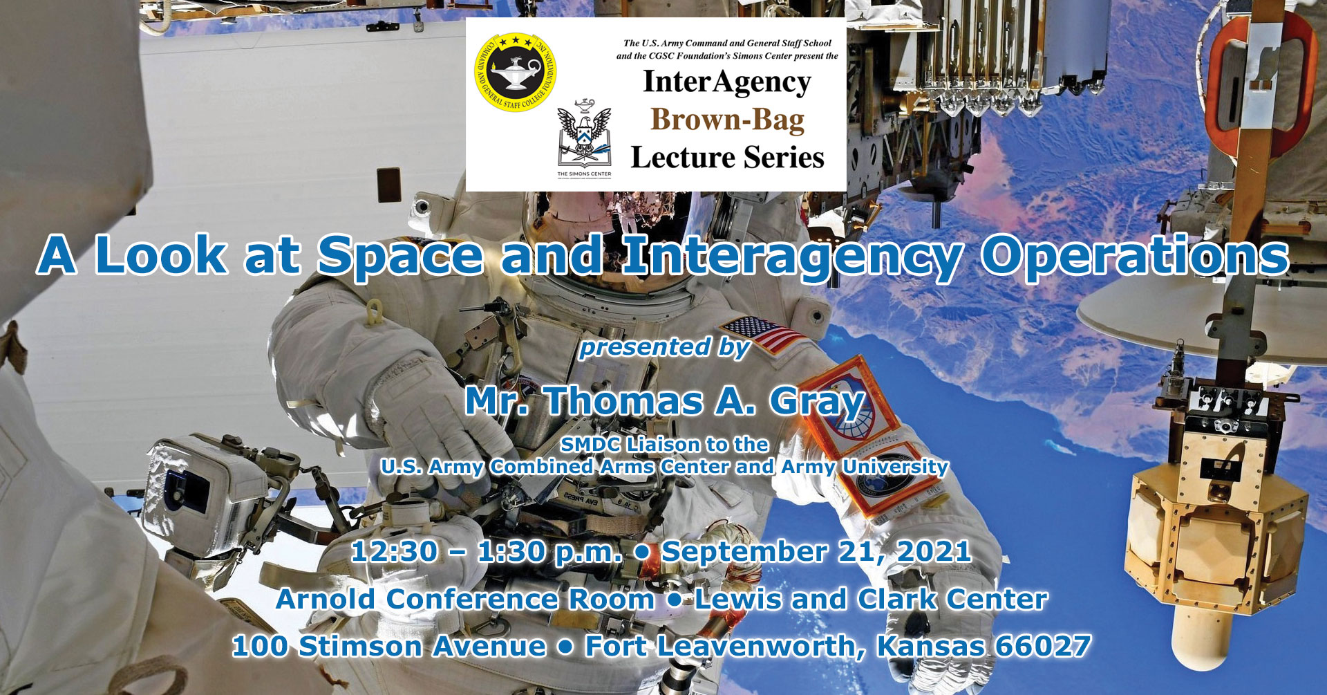 image of an astronaut space walking with Interagency Brownbag Lecture information text over the photo. The next brown-bag lecture is Sept. 21, 2021 at 12:30 p.m. in the Arnold Conference Room of the Lewis and Clark Center.