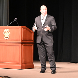 Image of Lieutenant General (Retired) H.R. McMaster, who served as the 26th assistant to the President for National Security Affairs, as he presents the annual Colin L. Powell Lecture for students of the Class of 2022 at the U.S. Army Command and General Staff College Sept. 8, 2021, at Fort Leavenworth's Lewis and Clark Center.