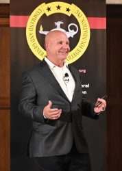Image of retired Lieutenant General H.R. McMaster who served as the 26th assistant to the President for National Security Affairs taken as he was delivering his remarks at the CGSC Foundation's Simons Center Distinguished Lecture Series event on Sept. 7, 2021, at the Carriage Club in Kansas City, Mo.